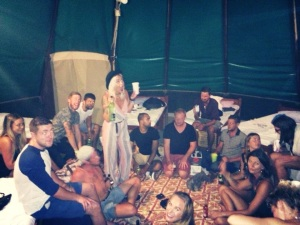 Drinking games in the tipi